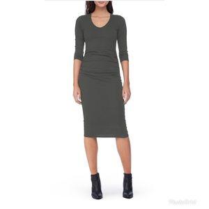 Michael Stars Ruched Midi Dress Size XL Olive Moss